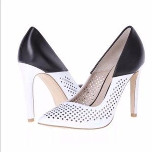 French Connection Maya 2 Perforated B&W Heels